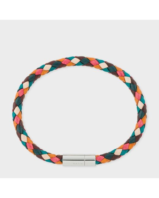 Paul Smith | Multicolor Men's Multi-coloured Leather Plaited Bracelet for Men | Lyst