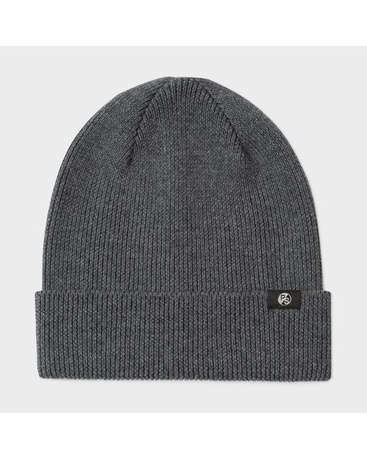 Paul Smith | Gray Men's Grey Merino Wool Beanie Hat for Men | Lyst