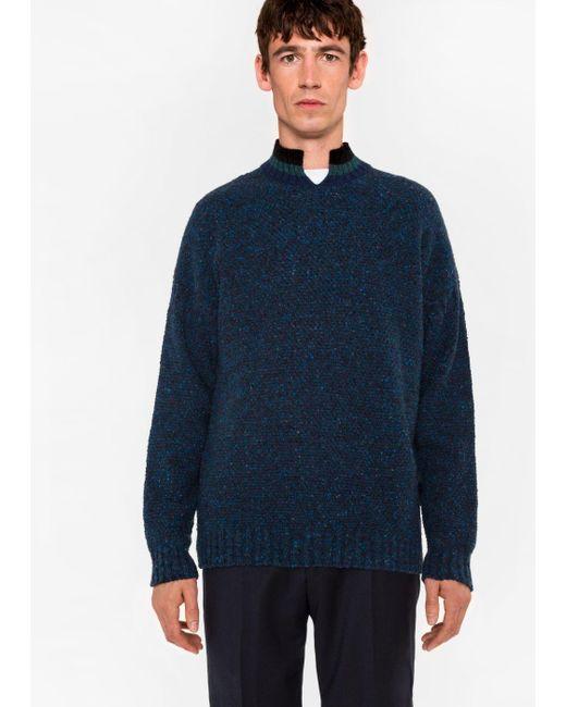 Paul Smith | Blue Men's Nepped Navy Wool Sweater for Men | Lyst
