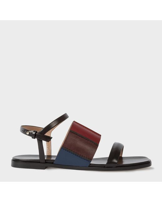 Paul Smith | Women's Black Colour-block Leather 'constance' Sandals | Lyst