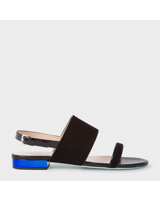 Paul Smith   Women's Black Suede And Leather 'cleo' Sandals   Lyst