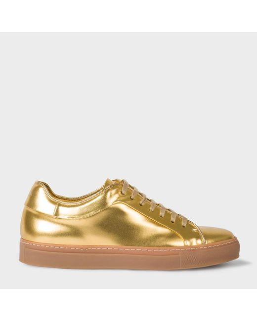 Paul Smith | Men's Metallic Gold Leather 'basso' Trainers for Men | Lyst