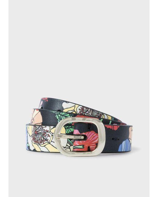 Paul Smith | Multicolor Women's 'wild Garden' Print Calf Leather Belt | Lyst