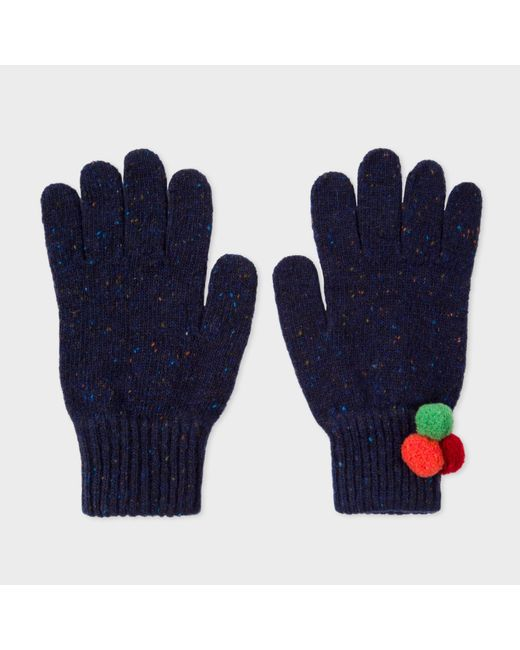 Paul Smith | Blue Women's Navy Flecked Wool Gloves With Pom-pom Detail | Lyst