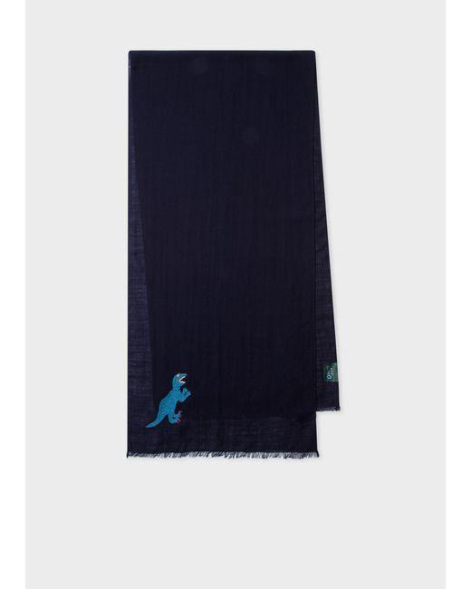 Écharpe Bleu Marine Brodée 'Dino' En Laine Paul Smith pour homme en coloris Blue