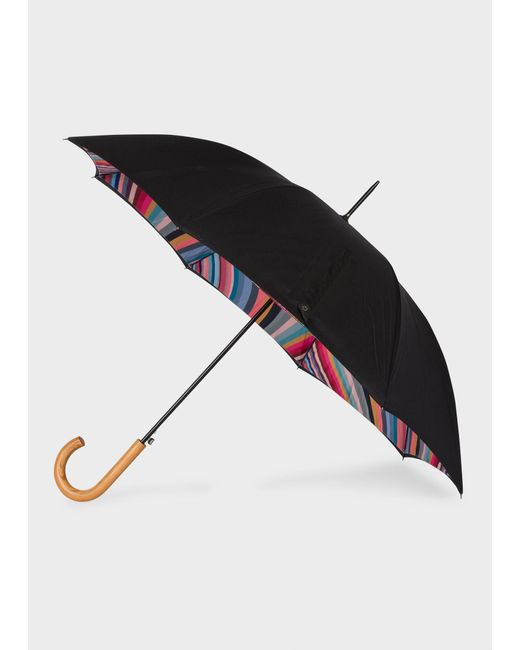Paul Smith Black 'swirl' Canopy Walker Umbrella With Wooden Handle