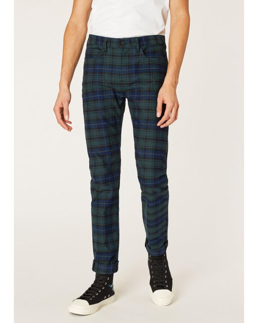 b7c7ec327c Men's Blue Slim-fit Navy And Green Check Stretch-cotton Jeans
