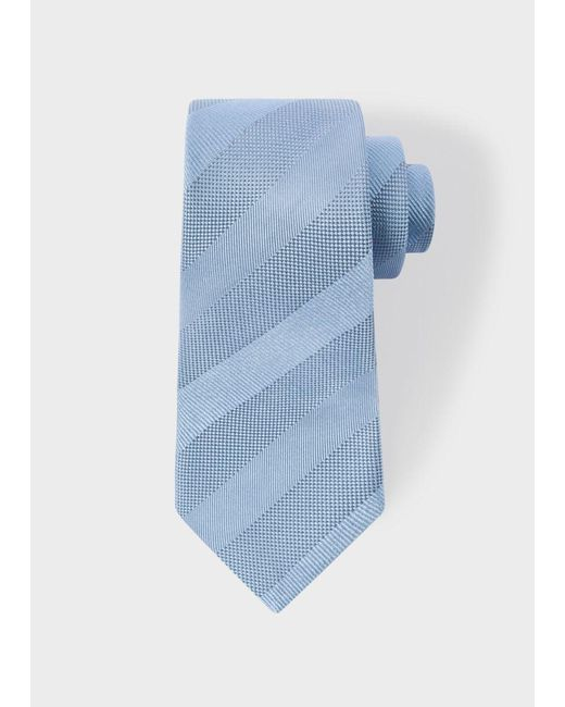 Paul Smith | Men's Light Blue Textured Stripe Narrow Silk Tie for Men | Lyst
