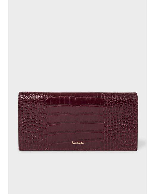 Paul Smith - Purple Burgundy Mock-Croc Leather Tri-Fold Wallet - Lyst