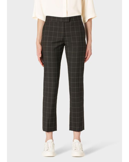 Paul Smith Slim-fit Black Windowpane Check Wool-blend Trousers