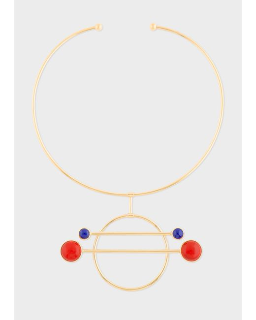 Paul Smith - Metallic Rachel Entwistle - Gold 'Balance' Necklace With Blue Lapis Lazuli And Red Coral Stones - Lyst