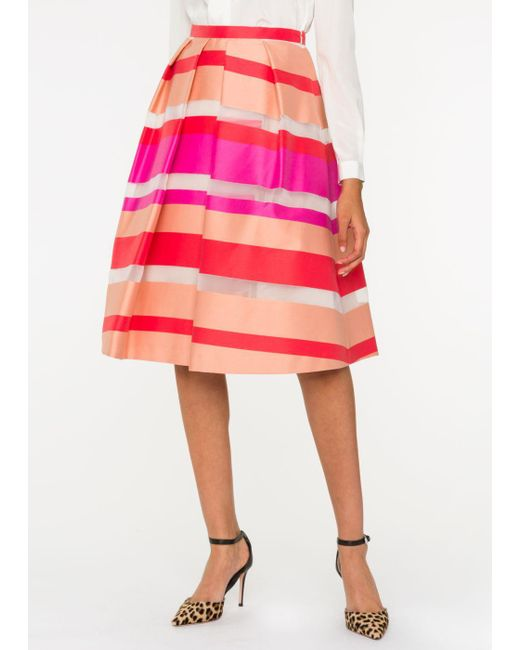 Paul Smith | Women's Coral And Pink Sheer-stripe Skirt | Lyst