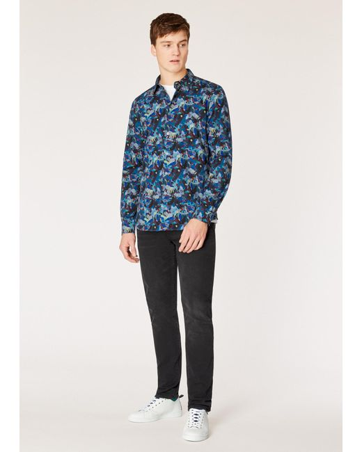 2e168d114c ... Paul Smith - Blue Tailored-fit Multi-coloured 'urban Fox Collage' Print  ...
