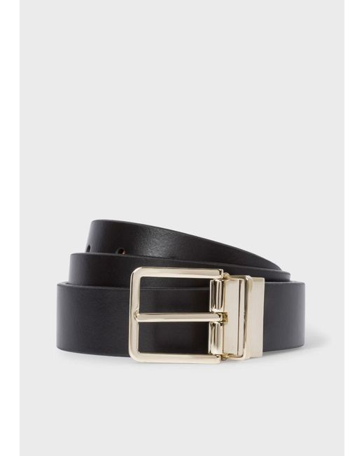Paul Smith | Men's Black And Signature Stripe Leather Cut-to-fit Reversible Belt for Men | Lyst