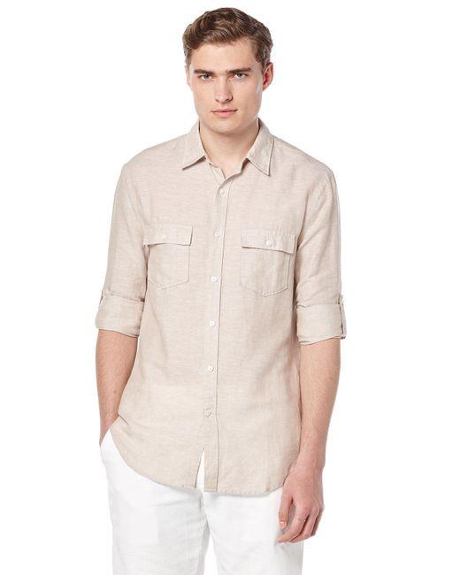 Perry Ellis - Natural Roll Sleeve Linen Shirt for Men - Lyst