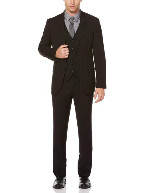 Perry Ellis Slim Fit Black Solid Suit for men