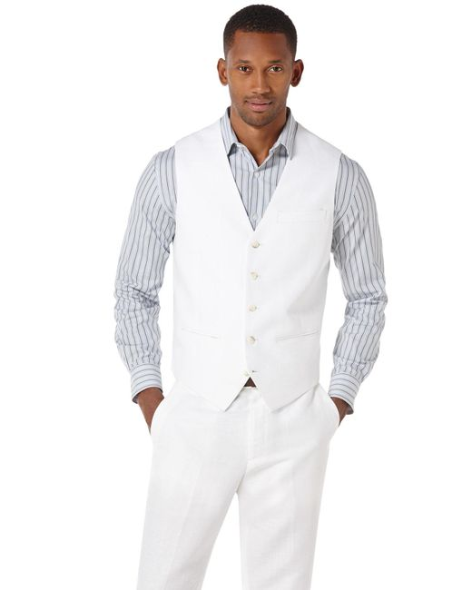 Perry Ellis | White Pointed Twill Vest for Men | Lyst