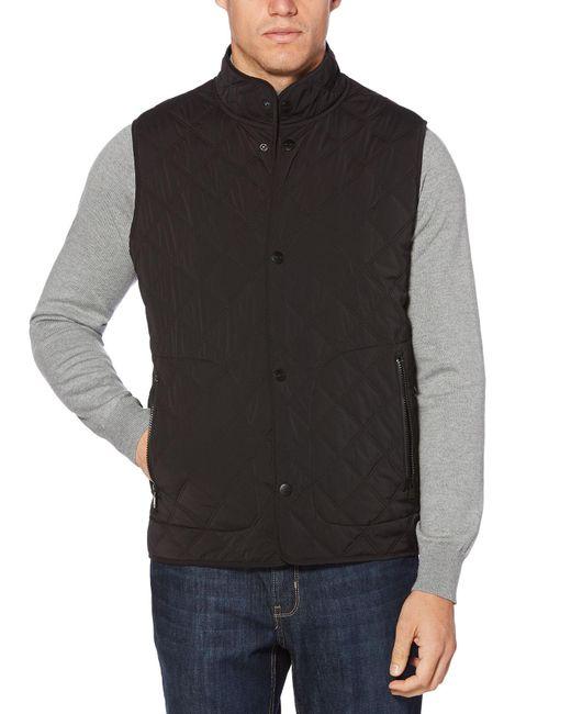 Perry Ellis - Black Snap Front Quilted Vest for Men - Lyst