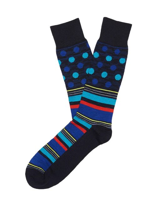 Perry Ellis - Blue Multi Color Stripes And Dots Socks for Men - Lyst