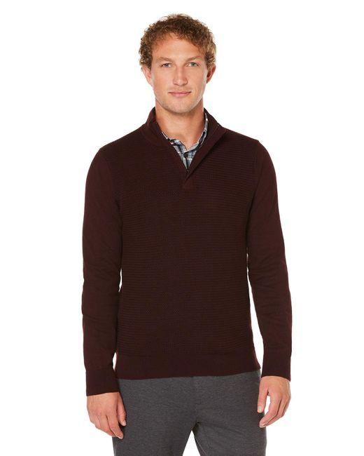 Perry Ellis | Brown Colorblock Quarter Zip Sweater for Men | Lyst
