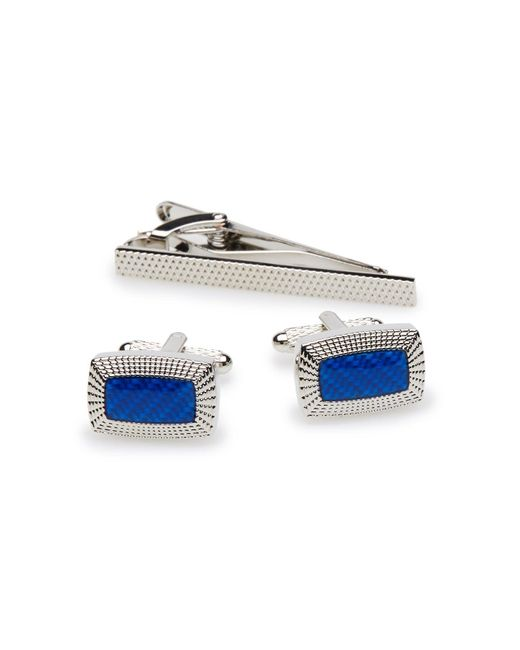 Perry Ellis Blue Rectangle Cufflink And Tie Bar Set for men