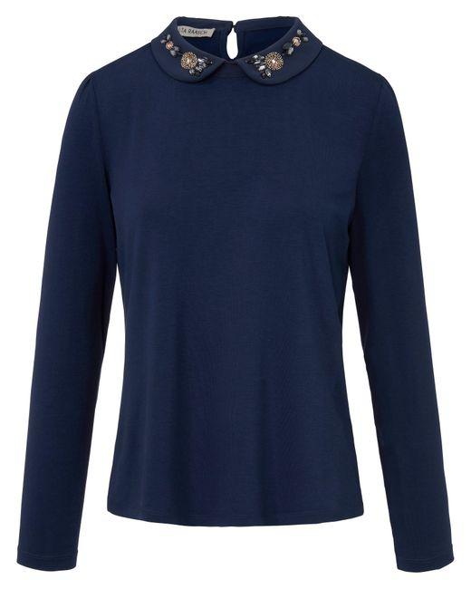Uta Raasch Blue Rundhals-Shirt Bubi-Kragen blau