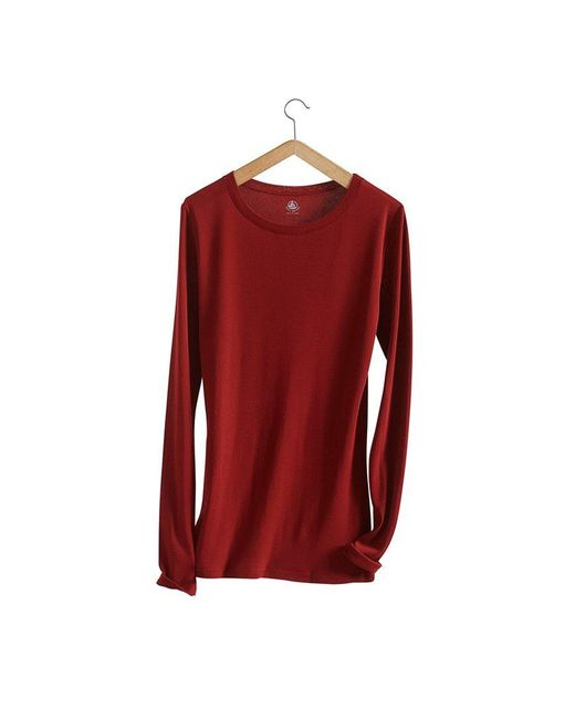 Petit Bateau   Brown Women's Long-sleeved, Round Neck Tee In Light Cotton   Lyst
