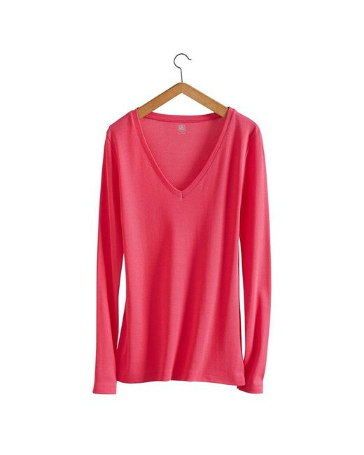 Petit Bateau   Pink Women's Long-sleeved, V-neck Tee In New Cotton   Lyst