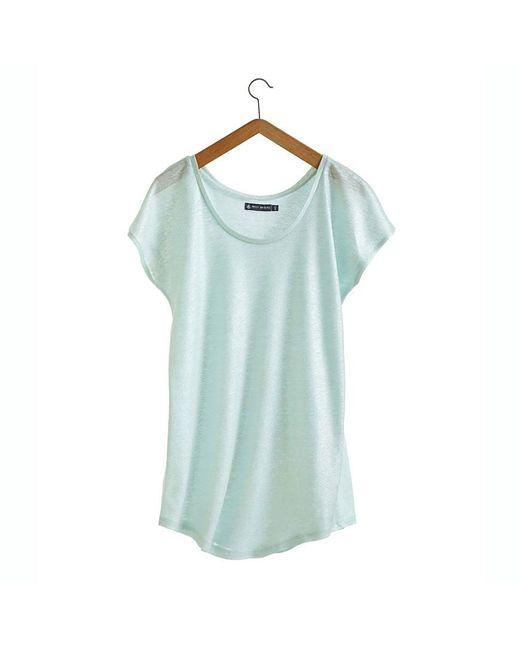 Petit Bateau   Blue Women's Linen And Lacquered Linen Tee   Lyst