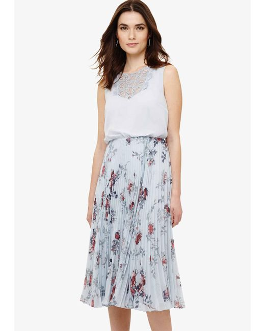 Phase Eight Blue Patricia Pleated Floral Dress