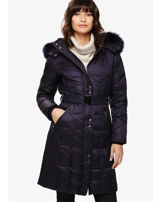 Phase Eight Blue Gretyl Illusion Panel Puffer Coat