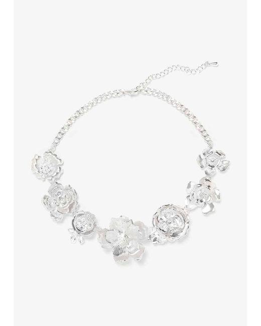 Phase Eight Metallic Aya Formed Flower Statement Necklace