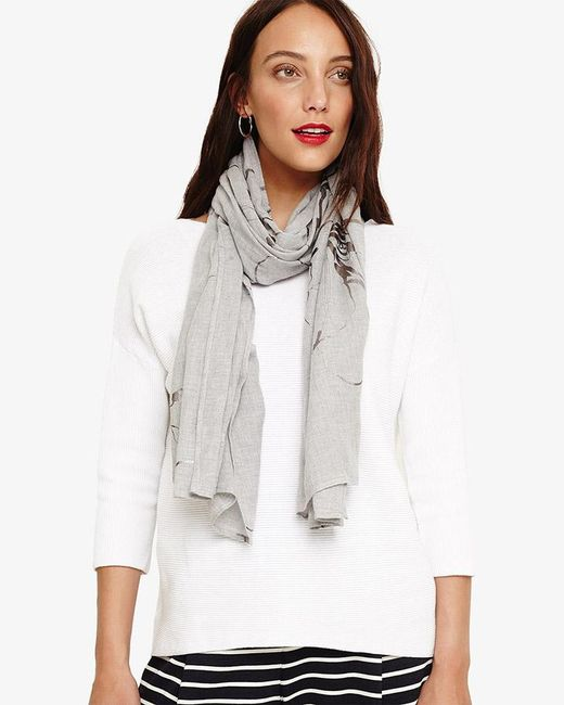 Phase Eight - Gray Nicole Foil Flower Scarf - Lyst