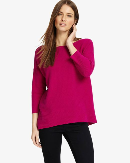 Phase Eight - Pink Piera Ripple Stitch Knit - Lyst