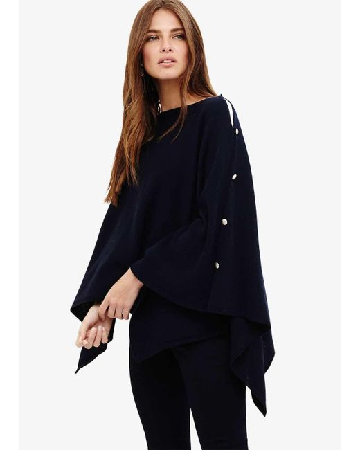 Phase Eight - Blue Cashmere Blend Poncho - Lyst