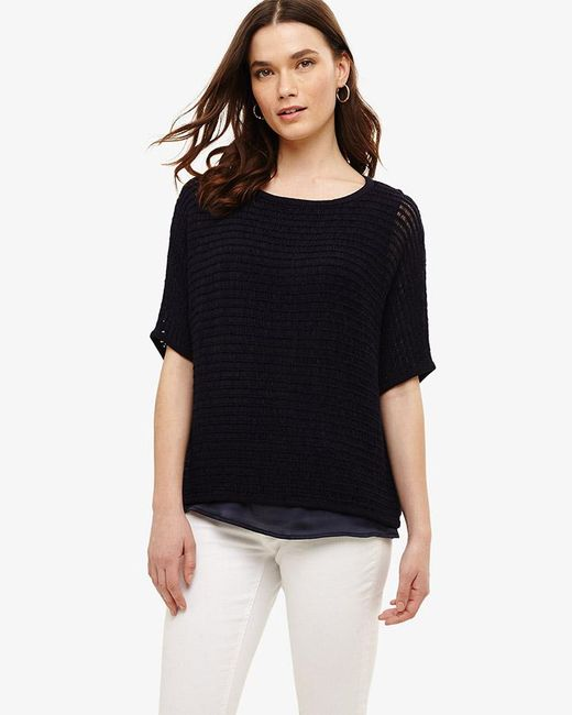 Phase Eight Lori Ladder Stitch Tape Knit Top In Blue Lyst