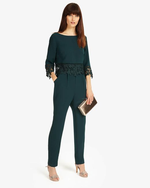 Phase Eight - Green Fiamma Lace Jumpsuit - Lyst