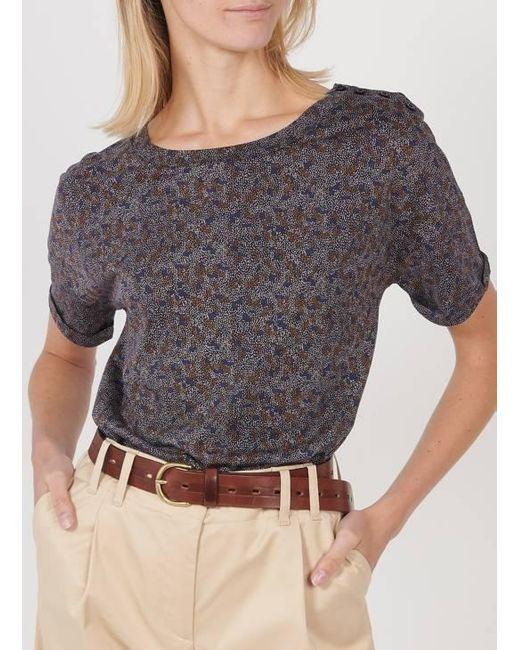 Sessun Camiseta recta de mezcla de algodón estampada con de mujer de color gris