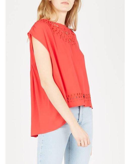 See U Soon Top de crepé holgado con cuello redondo calado de mujer de color rojo