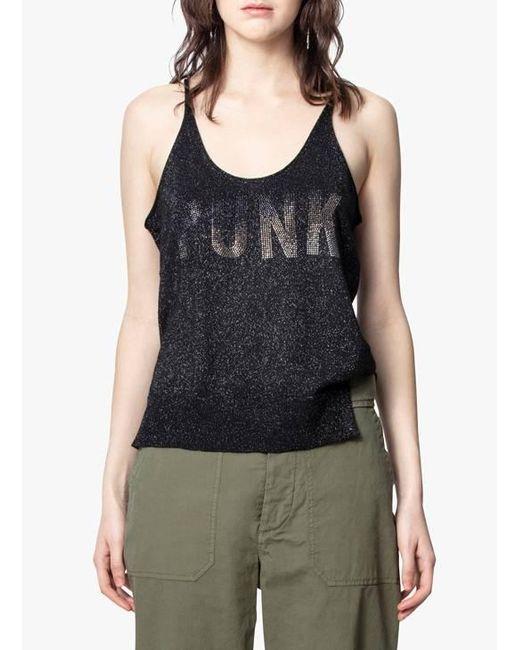 Zadig & Voltaire Camiseta escotada de tirantes finos de lana merina de mujer de color negro CU7js