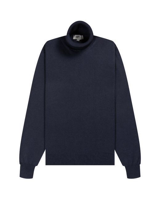 Canali Blue Luxury Knitted Roll Neck Navy for men