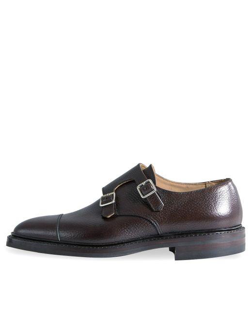 Crockett and Jones 'harrogate' Country Calf Grain Double Monk Shoes Dark Brown for men