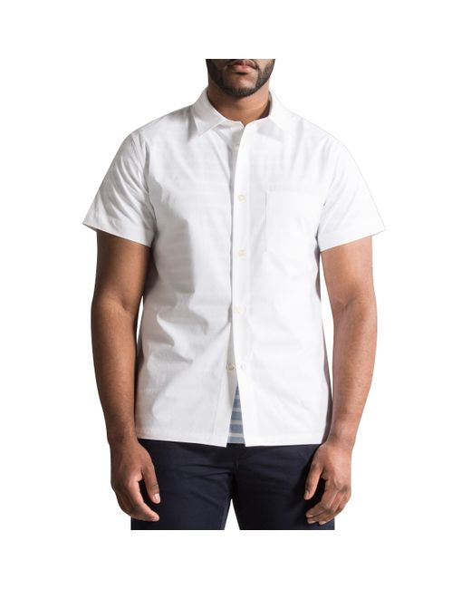 Pockets Apc A.p.c. 'cippi' Short Sleeved Cotton Shirt White for men
