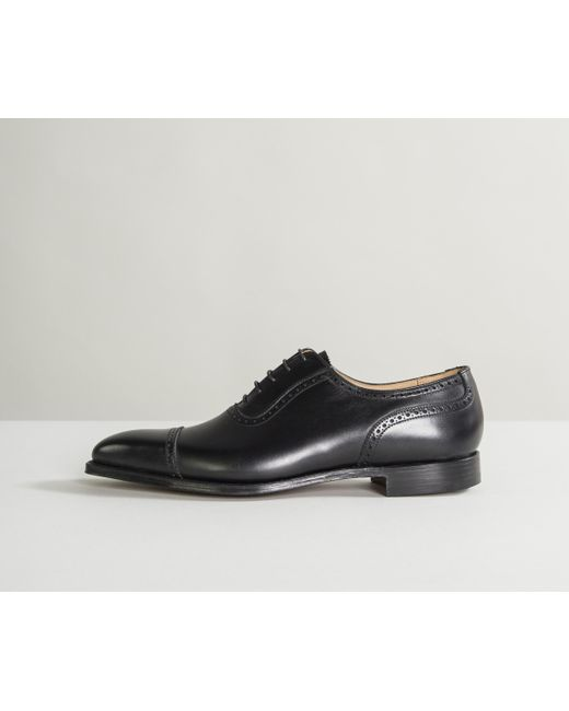 631df36cf6727a Crockett and Jones 'westbourne' Calf Leather Punched Toe Cap Shoes Black ...