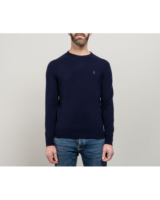 6343efc0394 Polo Ralph Lauren - Blue Luxury Merino Wool Crew Neck Knit Hunter Navy for  Men ...