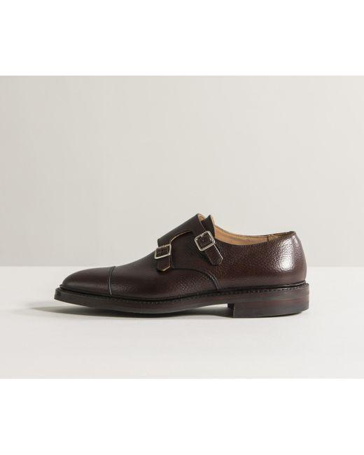 Crockett and Jones - 'harrogate' Country Calf Grain Double Monk Shoes Dark Brown for Men - Lyst