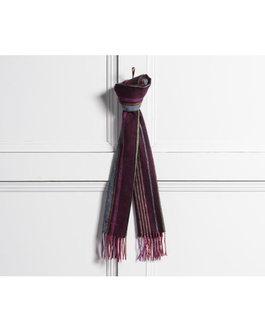 Paul Smith - Striped Lambswool Scarf Purple for Men - Lyst