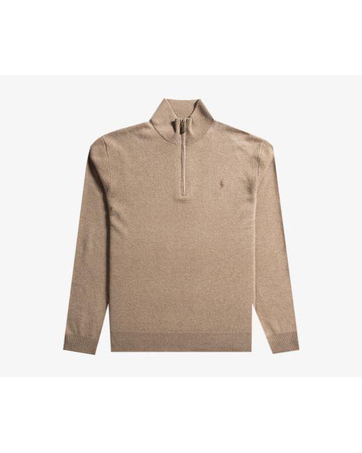Polo Ralph Lauren - Italian Yarn 1/4 Zip Knit Honey Brown for Men - Lyst