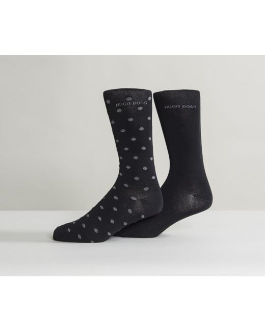 BOSS   Soft Cotton Spotted Sock Black/grey for Men   Lyst
