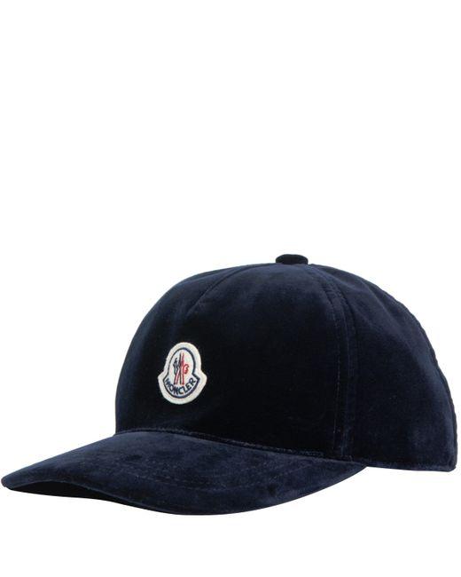 Moncler Blue Navy Velvet Applique Logo Baseball Cap for men